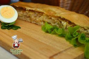 Пирог из сдобного теста с капустой, яйцом (2,4 кг.)